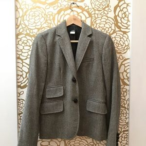 J. Crew Light Grey Wool Blazer Jacket Two Buttons